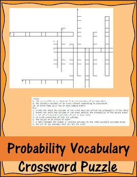 Probability Vocabulary Crossword Puzzle
