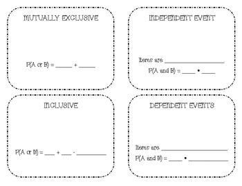 Probability Vocabulary Foldable