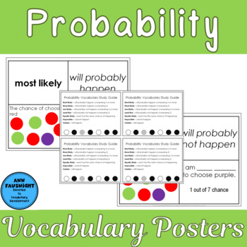 Probability Vocabulary Posters and Center