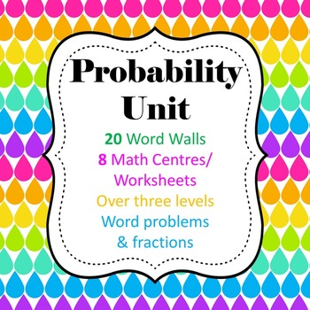 Probability WORD Unit - 8 Math Center/Literacy/ Worksheets