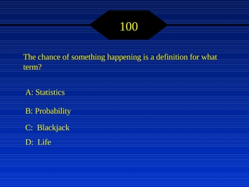 "Probability ""Who wants to be a Math Millionaire?"" Game w/ sound"