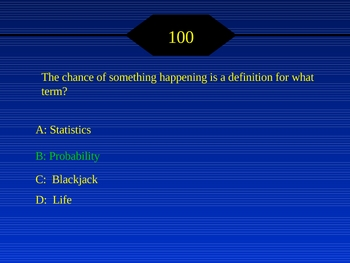 """Probability """"Who wants to be a Math Millionaire?"""" Game w/ sound"""