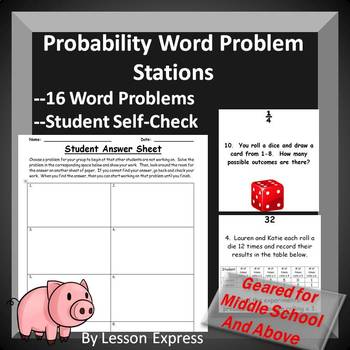 Probability Word Problems (Station Activity) -- Experimental + Theoretical Prob
