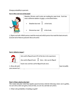 Probability Word Problems Worksheet (Simple Events)