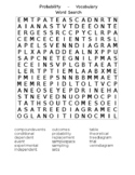 Probability Vocabulary: Word Search and Crossword Puzzle