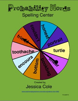 Probability Words Spelling Center