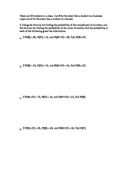 Probability Worksheet 3