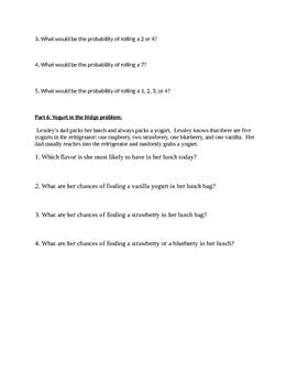 Probability Worksheet 1 (Simple events)