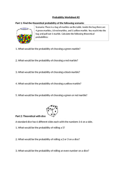 Probability Worksheet 2 (Simple events)