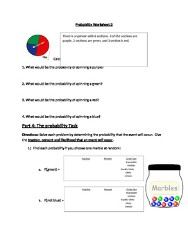 Probability Worksheet 3 (Simple events)