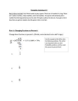 Probability Worksheet 5 (Simple events)