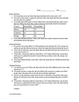 Advanced Probability Worksheet with 3 Difficulty levels