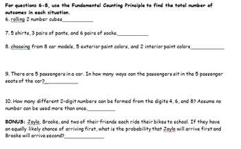 probability worksheet quiz by elizabeth brown teachers pay teachers. Black Bedroom Furniture Sets. Home Design Ideas