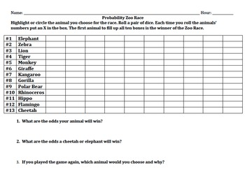 Probability Zoo Race Game