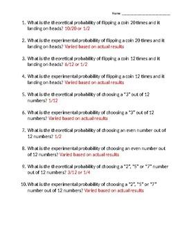 Probability activity - Theoretical vs Experimental