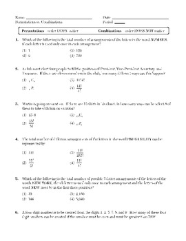 Probability and Counting (Permutations and Combinations)