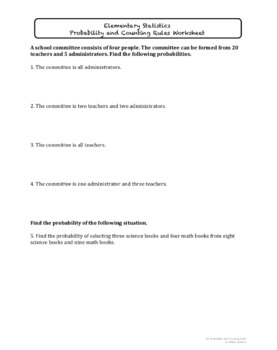 Probability and Counting Rules Worksheet Bundle