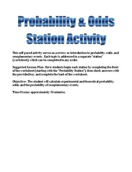 Probability and Odds Self-Paced Station Activity
