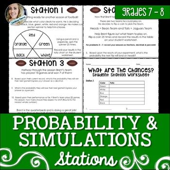 Probability and Simulations : Middle School Math Stations