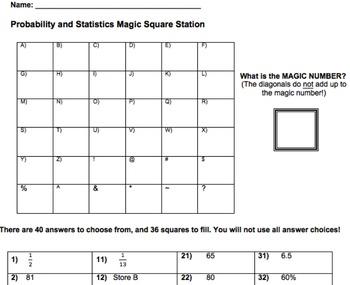 Probability and Statistics Magic Square Activity