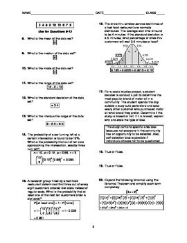 Probability and Statistics Test BUNDLE