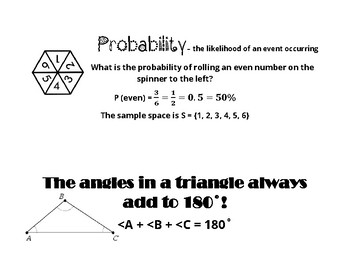 Probability and Triangle Sum Theorem Anchor Chart Poster