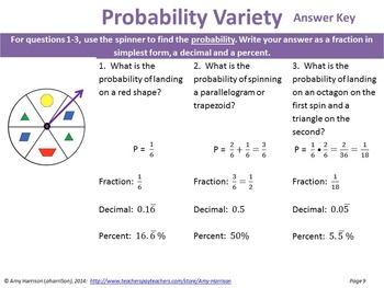Probability: notes and exit tickets