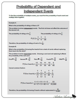 Probability of Dependent and Independent Events Answers