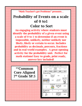Probability of Events on a scale of 0 to1: A 7th Grade Color to Sort Activity