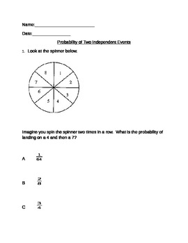 Probability of Independent Events - 10 questions