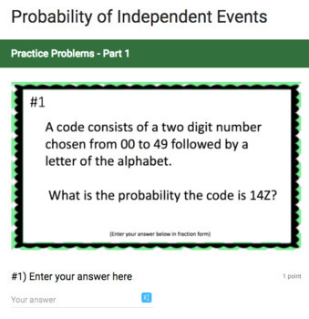 Probability of Independent Events - Google Form & Video Lesson!