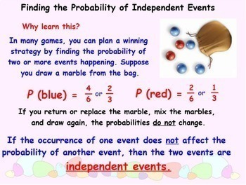 Probability of Independent Events Using Sample Space Smartboard Lesson