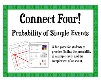 probability of simple events connect four game by middle school math madness. Black Bedroom Furniture Sets. Home Design Ideas