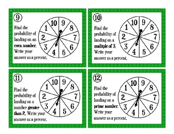 Probability of Simple Events Task Cards
