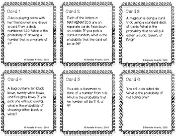 Probability of Simple Events Task Cards 6.SP