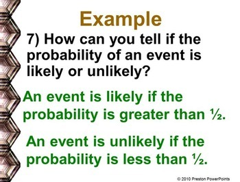Probability of Simple Events in a PowerPoint Presentation