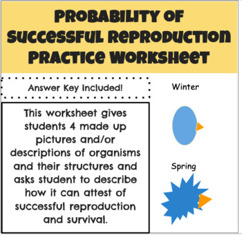 Probability of Successful Reproduction Practice Worksheet and Answer Key