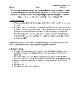 Probable Passage Graphic Organizer with Reflection