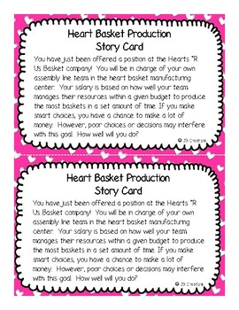 Valentine's Day Economics! Heart Basket Assembly Line (problem based learning)