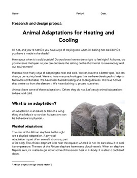 Problem-Based Learning Project: Animal Adaptations for Heating and Cooling