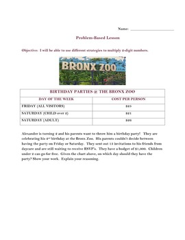 Problem Based Lesson - Birthday Party at the Zoo
