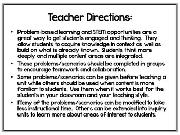 Problem Based Scenarios and STEM Activities-4th