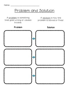 Problem Solution Graphic Organizer FREEBIE