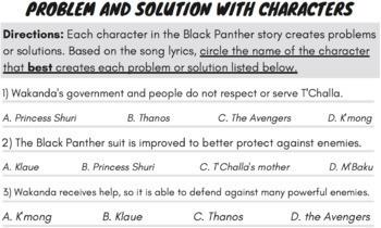 Problem & Solution Passage: Black Panther Movie Activity Guide Superhero Reading