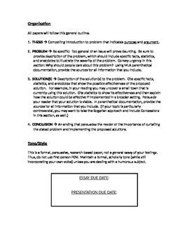 Problem-Solution Research Paper and Presentation - Assignment Description