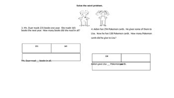Problem Solve Assessment with Bar Modeling
