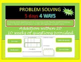 Problem Solving 5 Days 4 Ways Addition within 20