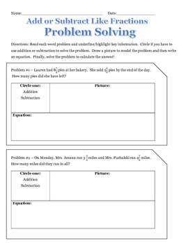Problem Solving - Adding and Subtracting Fractions with Li