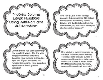 Problem Solving Adding and Subtracting Large Numbers