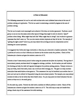 Problem Solving Assessment List